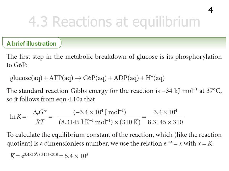 The composition at equilibrium ตัวอย่าง จากปฏิกิริยา G6P (aq)  F6P (aq) ปฏิกิริยานี้มีค่า  r G 0 = +1.7 kJ mol -1 ที่ 25°C จงประมาณหาสัดส่วน f ของ F6P กับ G6P ที่ สมดุล ณ 25°C เมื่อนิยาม f ว่า...