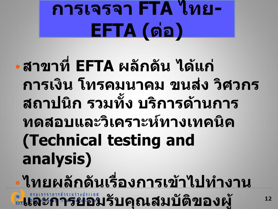 12 สาขาที่ EFTA ผลักดัน ได้แก่ การเงิน โทรคมนาคม ขนส่ง วิศวกร สถาปนิก รวมทั้ง บริการด้านการ ทดสอบและวิเคราะห์ทางเทคนิค (Technical testing and analysis