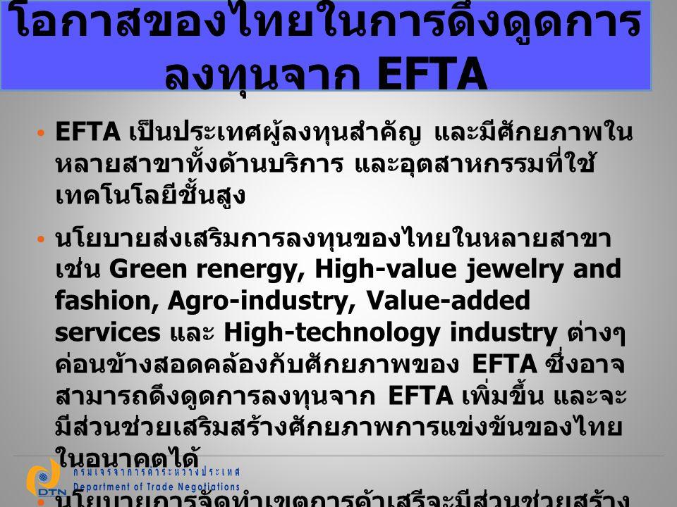 EFTA เป็นประเทศผู้ลงทุนสำคัญ และมีศักยภาพใน หลายสาขาทั้งด้านบริการ และอุตสาหกรรมที่ใช้ เทคโนโลยีชั้นสูง นโยบายส่งเสริมการลงทุนของไทยในหลายสาขา เช่น Gr