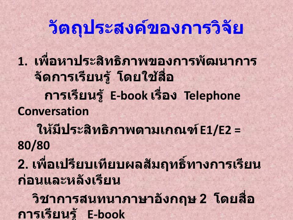 ประสิทธิภาพของการจัดการเรียนรู้ โดยใช้สื่อการเรียนรู้ E-book เรื่อง Telephone conversation คะแนน คะแนนระหว่าง เรียน (E1) คะแนนหลัง เรียน (E2) ประสิทธิภาพ ของ E-book คะแนนเต็ม 4020 ค่าเฉลี่ย 36.2918.290.72/90.79 ร้อยละของ ค่าเฉลี่ย 90.7290.79 จากตารางพบว่า ประสิทธิภาพของสื่อการเรียนรู้ คะแนนแบบฝึกระหว่างเรียนเท่ากับ 90.72 และ คะแนนหลังเรียน เท่ากับ 90.79 แสดงว่าสื่อการ เรียนรู้ มีประสิทธิภาพตามเกณฑ์ 80/80