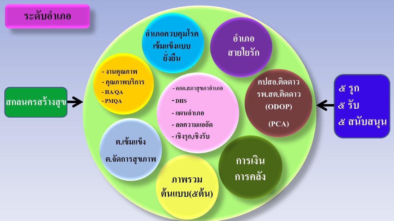 คปสอ.ติดดาว รพ.สต.ติดดาว (ODOP) (PCA) คปสอ.ติดดาว รพ.สต.ติดดาว (ODOP) (PCA) การเงิน การคลัง ภาพรวม ต้นแบบ(๕ต้น) - งานคุณภาพ - คุณภาพบริการ - HA/QA - PMQA อำเภอควบคุมโรค เข้มแข็งแบบ ยั่งยืน - คกก.สภาสุขภาอำเภอ - DHS - แผนอำเภอ - ลดความแออัด - เชิงรุก,เชิงรับ - คกก.สภาสุขภาอำเภอ - DHS - แผนอำเภอ - ลดความแออัด - เชิงรุก,เชิงรับ ระดับอำเภอ อำเภอ สายใยรัก ต.เข้มแข็ง ต.จัดการสุขภาพ ต.เข้มแข็ง ต.จัดการสุขภาพ ๕ รุก ๕ รับ ๕ สนับสนุน สกลนครสร้างสุข
