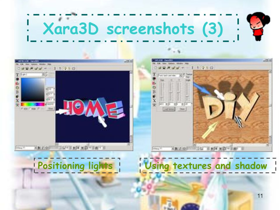 10 Xara3D screenshots (2) Applying different animations per line Working in Frame view