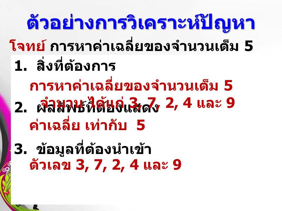 Free Powerpoint TemplatesPage 8 ตัวอย่างการวิเคราะห์ปัญหา โจทย์ การหาค่าเฉลี่ยของจำนวนเต็ม 5 จำนวน ได้แก่ 3, 7, 2, 4 และ 9 1. สิ่งที่ต้องการ 2. ผลลัพธ