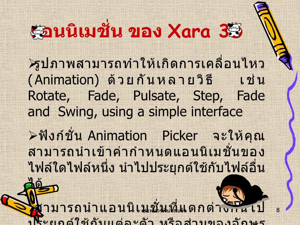 ซอฟแวร์ที่น่าสนใจ 8 แอนนิเมชั่น ข อง Xara 3D  รูปภาพสามารถทำให้เกิดการเคลื่อนไหว (Animation) ด้วยกันหลายวิธี เช่น Rotate, Fade, Pulsate, Step, Fade and Swing, using a simple interface  ฟังก์ชั่น Animation Picker จะให้คุณ สามารถนำเข้าค่ากำหนดแอนนิเมชั่นของ ไฟล์ใดไฟล์หนึ่ง นำไปประยุกต์ใช้กับไฟล์อื่น ได้  สามารถนำแอนนิเมชั่นที่แตกต่างกันไป ประยุกต์ใช้กับแต่ละตัว หรือส่วนของอักษร ได้