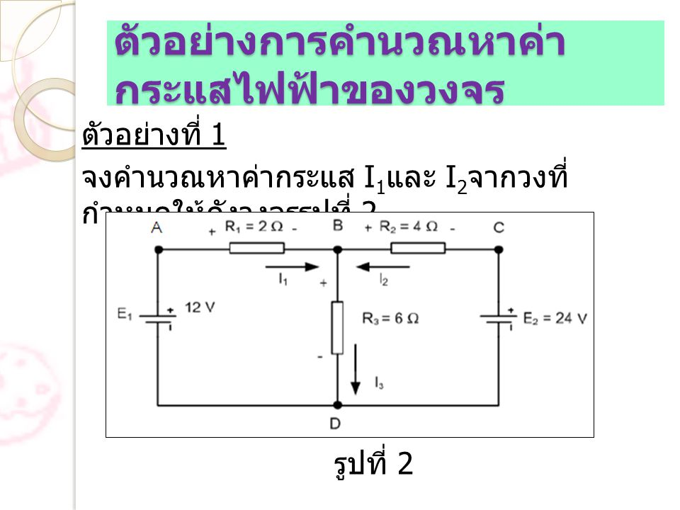 ตัวอย่างการคำนวณหาค่า กระแสไฟฟ้าของวงจร ตัวอย่างที่ 1 จงคำนวณหาค่ากระแส I 1 และ I 2 จากวงที่ กำหนดให้ดังวงจรรูปที่ 2 รูปที่ 2