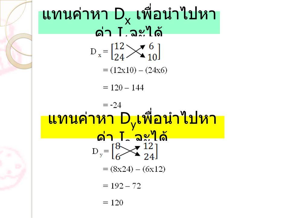 แทนค่าหา D x เพื่อนำไปหา ค่า I 1 จะได้ แทนค่าหา D y เพื่อนำไปหา ค่า I 2 จะได้