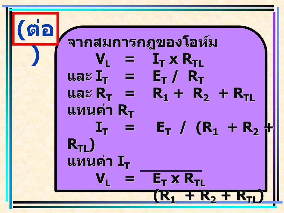 ( ต่อ ) จากสมการกฎของโอห์ม V L =I T x R TL และ I T =E T / R T และ R T =R 1 + R 2 + R TL แทนค่า R T I T = E T / (R 1 + R 2 + R TL ) แทนค่า I T V L =E T