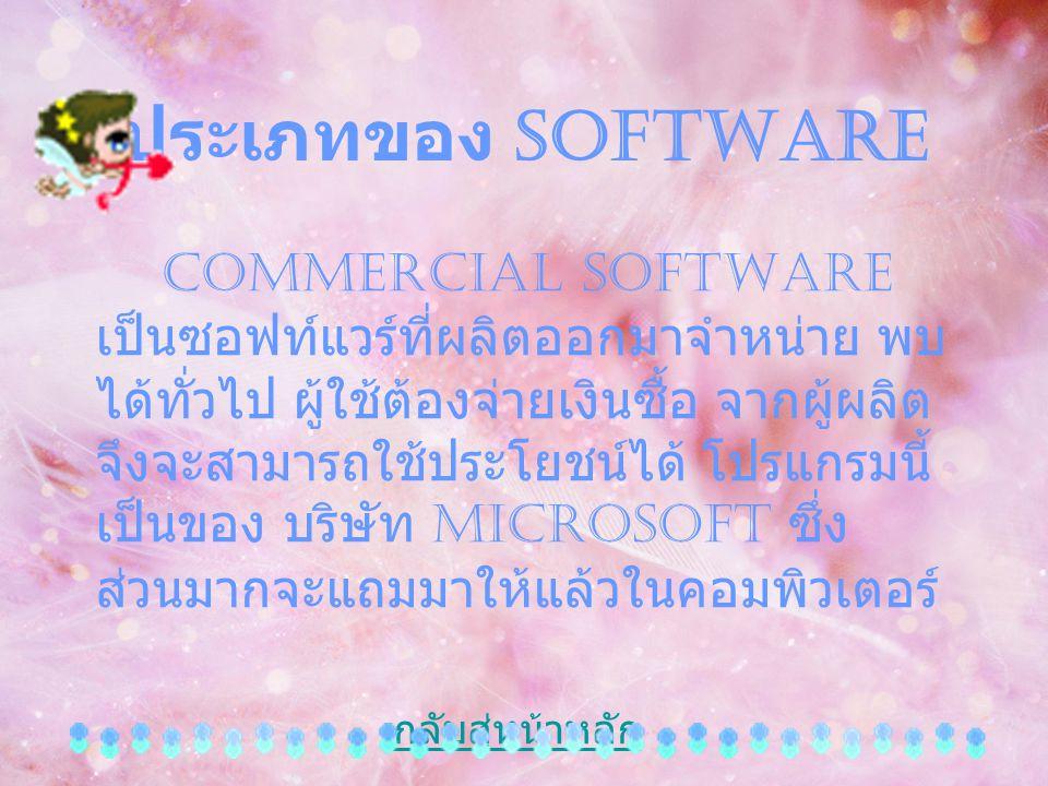 ประเภทของ Software Commercial Software เป็นซอฟท์แวร์ที่ผลิตออกมาจำหน่าย พบ ได้ทั่วไป ผู้ใช้ต้องจ่ายเงินซื้อ จากผู้ผลิต จึงจะสามารถใช้ประโยชน์ได้ โปรแก