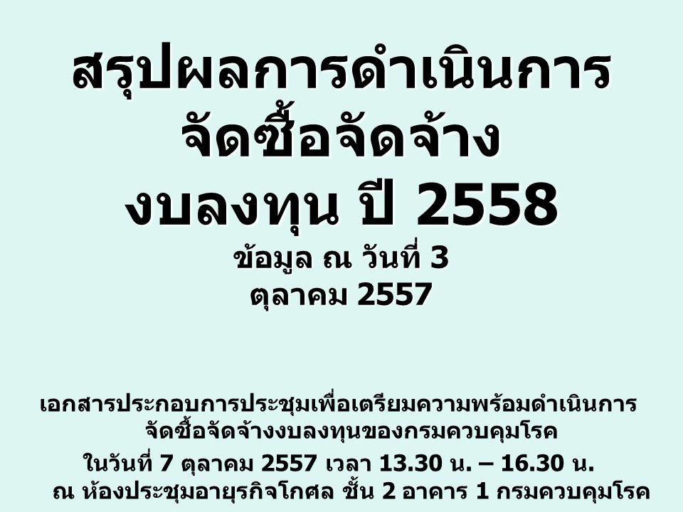 สรุปผลการดำเนินการ จัดซื้อจัดจ้าง งบลงทุน ปี 2558 ข้อมูล ณ วันที่ 3 ตุลาคม 2557 เอกสารประกอบการประชุมเพื่อเตรียมความพร้อมดำเนินการ จัดซื้อจัดจ้างงบลงทุนของกรมควบคุมโรค ในวันที่ 7 ตุลาคม 2557 เวลา 13.30 น.