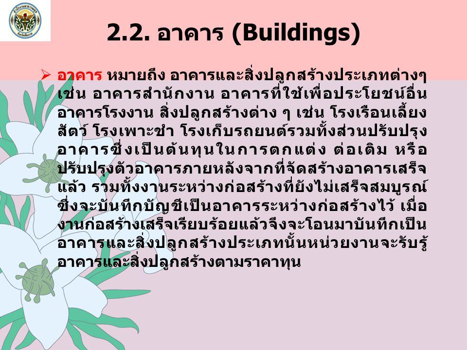 2.2. อาคาร (Buildings)  อาคาร หมายถึง อาคารและสิ่งปลูกสร้างประเภทต่างๆ เช่น อาคารสำนักงาน อาคารที่ใช้เพื่อประโยชน์อื่น อาคารโรงงาน สิ่งปลูกสร้างต่าง