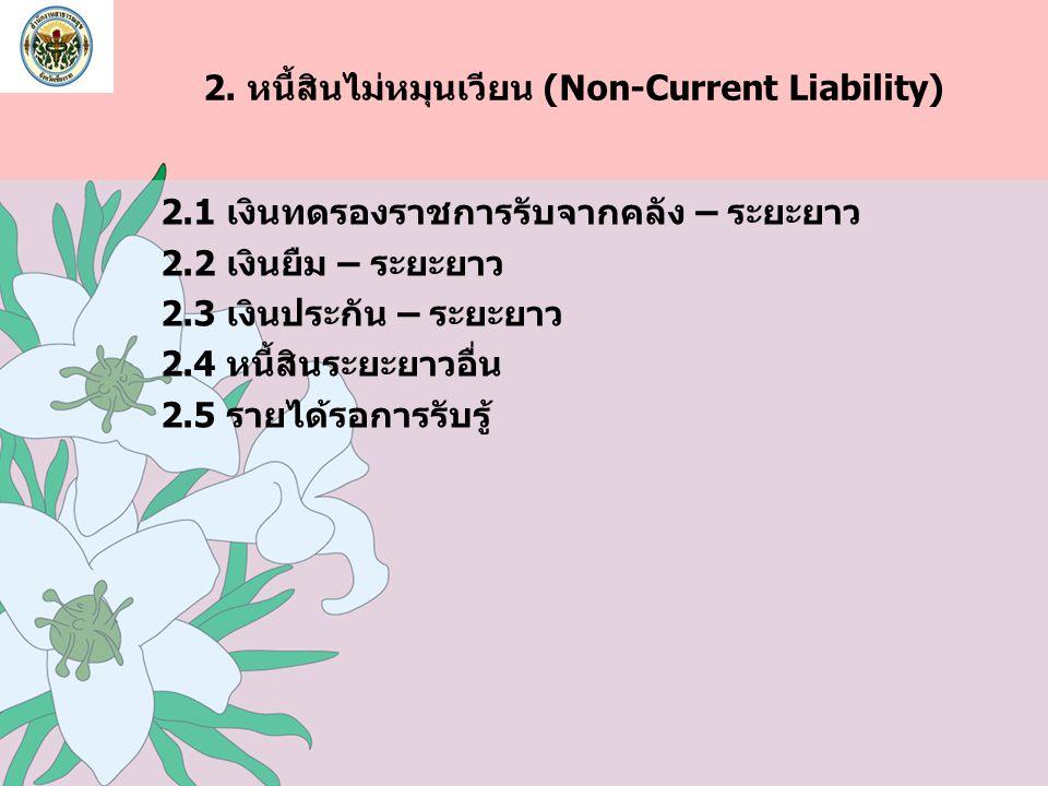2. หนี้สินไม่หมุนเวียน (Non-Current Liability) 2.1 เงินทดรองราชการรับจากคลัง – ระยะยาว 2.2 เงินยืม – ระยะยาว 2.3 เงินประกัน – ระยะยาว 2.4 หนี้สินระยะย