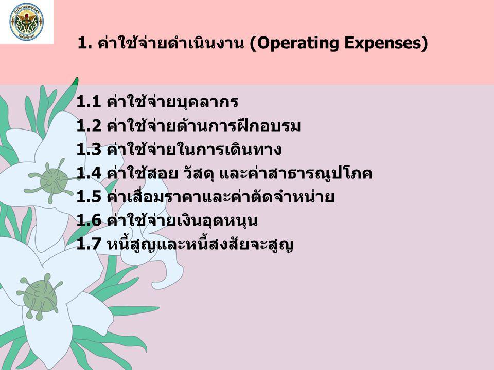 1. ค่าใช้จ่ายดำเนินงาน (Operating Expenses) 1.1 ค่าใช้จ่ายบุคลากร 1.2 ค่าใช้จ่ายด้านการฝึกอบรม 1.3 ค่าใช้จ่ายในการเดินทาง 1.4 ค่าใช้สอย วัสดุ และค่าสา