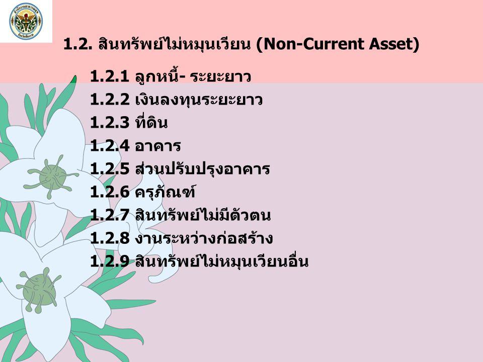 1.2. สินทรัพย์ไม่หมุนเวียน (Non-Current Asset) 1.2.1 ลูกหนี้- ระยะยาว 1.2.2 เงินลงทุนระยะยาว 1.2.3 ที่ดิน 1.2.4 อาคาร 1.2.5 ส่วนปรับปรุงอาคาร 1.2.6 คร