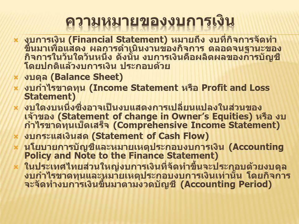  งบการเงิน (Financial Statement) หมายถึง งบที่กิจการจัดทำ ขึ้นมาเพื่อแสดง ผลการดำเนินงานของกิจการ ตลอดจนฐานะของ กิจการในวันใดวันหนึ่ง ดังนั้น งบการเงินคือผลิตผลของการบัญชี โดยปกติแล้วงบการเงิน ประกอบด้วย  งบดุล (Balance Sheet)  งบกำไรขาดทุน (Income Statement หรือ Profit and Loss Statement)  งบใดงบหนึ่งซึ่งอาจเป็นงบแสดงการเปลี่ยนแปลงในส่วนของ เจ้าของ (Statement of change in Owner's Equities) หรือ งบ กำไรขาดทุนเบ็ดเสร็จ (Comprehensive Income Statement)  งบกระแสเงินสด (Statement of Cash Flow)  นโยบายการบัญชีและหมายเหตุประกอบงบการเงิน (Accounting Policy and Note to the Finance Statement)  ในประเทศไทยส่วนใหญ่งบการเงินที่จัดทำขึ้นจะประกอบด้วยงบดุล งบกำไรขาดทุนและหมายเหตุประกอบงบการเงินเท่านั้น โดยกิจการ จะจัดทำงบการเงินขึ้นมาตามงวดบัญชี (Accounting Period)