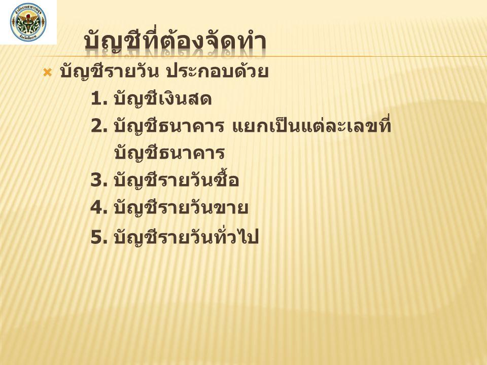  บัญชีรายวัน ประกอบด้วย 1.บัญชีเงินสด 2. บัญชีธนาคาร แยกเป็นแต่ละเลขที่ บัญชีธนาคาร 3.