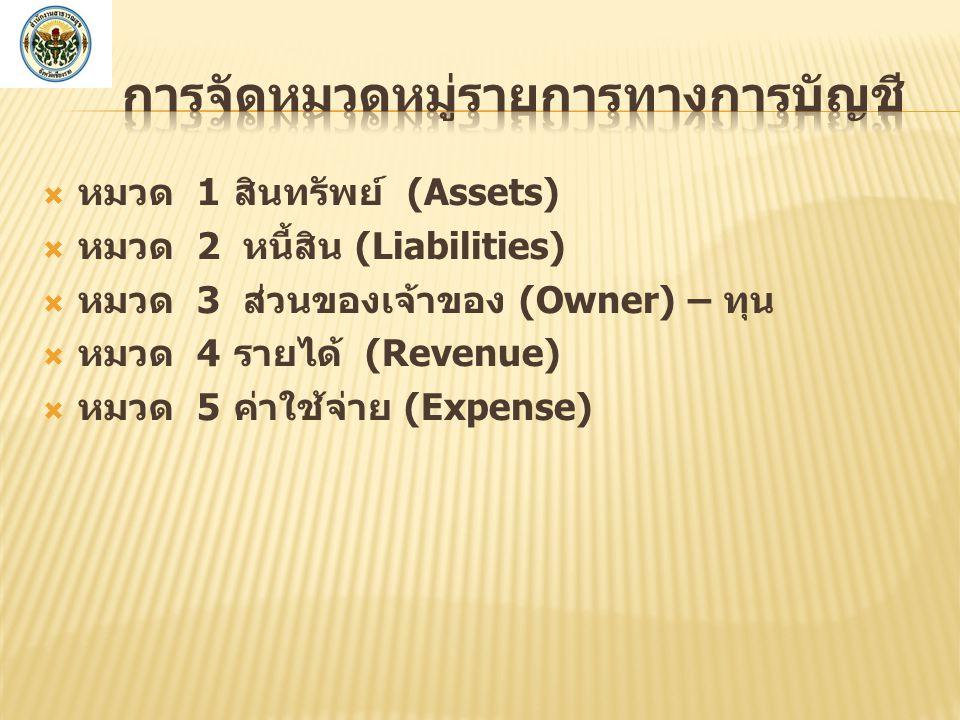  หมวด 1สินทรัพย์ (Assets)  หมวด 2 หนี้สิน (Liabilities)  หมวด 3 ส่วนของเจ้าของ (Owner) – ทุน  หมวด 4รายได้ (Revenue)  หมวด 5ค่าใช้จ่าย (Expense)