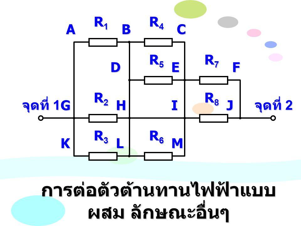 ACB DEF GHIJ KLM R1R1R1R1 R2R2R2R2 R3R3R3R3 R4R4R4R4 R5R5R5R5 R6R6R6R6 R7R7R7R7 R8R8R8R8 จุดที่ 1 การต่อตัวต้านทานไฟฟ้าแบบ ผสม ลักษณะอื่นๆ