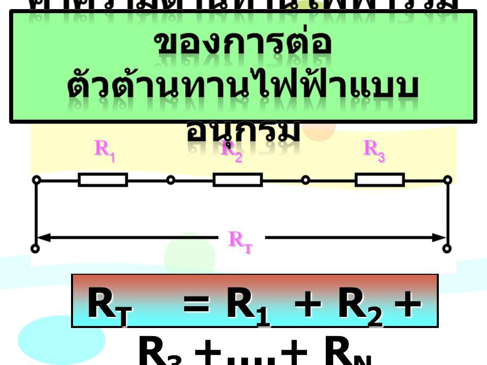 R T = R 1 + R 2 + R 3 +….+ R N