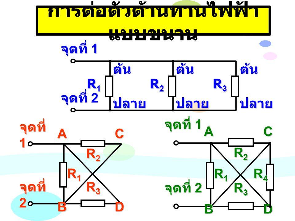 จุดที่ 1 จุดที่ 2 R1R1R1R1 R2R2R2R2 R3R3R3R3AB C D จุดที่ 1 จุดที่ 2 R1R1R1R1 R2R2R2R2 R3R3R3R3 D AB C FE จุดต่อ A จุดต่อ B เส้นเชื่อมโยง ระหว่างจุดต่อ