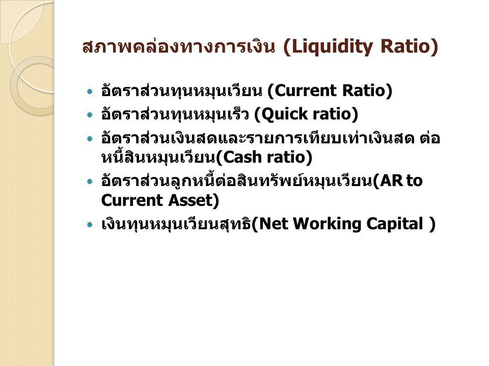 สภาพคล่องทางการเงิน (Liquidity Ratio) อัตราส่วนทุนหมุนเวียน (Current Ratio) อัตราส่วนทุนหมุนเร็ว (Quick ratio) อัตราส่วนเงินสดและรายการเทียบเท่าเงินสด
