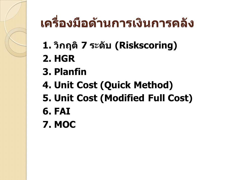 เครื่องมือด้านการเงินการคลัง 1. วิกฤติ 7 ระดับ (Riskscoring) 2. HGR 3. Planfin 4. Unit Cost (Quick Method) 5. Unit Cost (Modified Full Cost) 6. FAI 7.