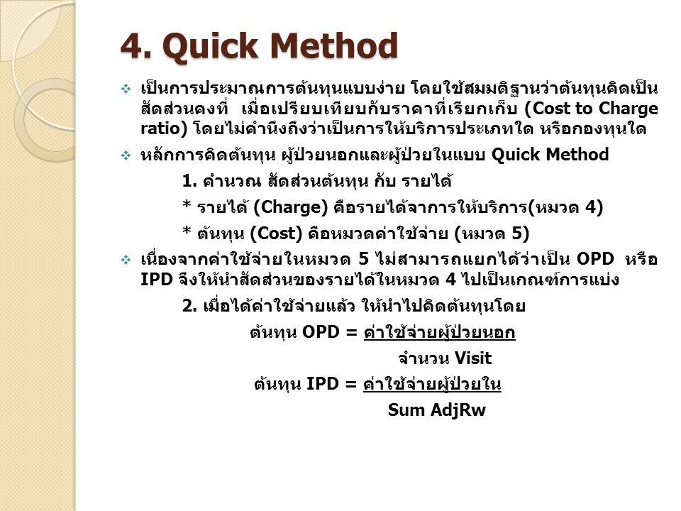 4. Quick Method  เป็นการประมาณการต้นทุนแบบง่าย โดยใช้สมมติฐานว่าต้นทุนคิดเป็น สัดส่วนคงที่ เมื่อเปรียบเทียบกับราคาที่เรียกเก็บ (Cost to Charge ratio)