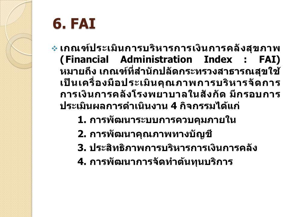 6. FAI  เกณฑ์ประเมินการบริหารการเงินการคลังสุขภาพ (Financial Administration Index : FAI) หมายถึง เกณฑ์ที่สำนักปลัดกระทรวงสาธารณสุขใช้ เป็นเครื่องมือป
