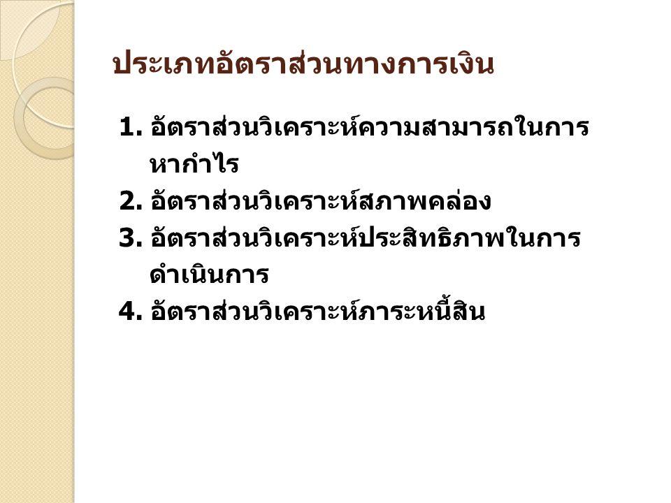 ประเภทอัตราส่วนทางการเงิน 1. อัตราส่วนวิเคราะห์ความสามารถในการ หากำไร 2. อัตราส่วนวิเคราะห์สภาพคล่อง 3. อัตราส่วนวิเคราะห์ประสิทธิภาพในการ ดำเนินการ 4