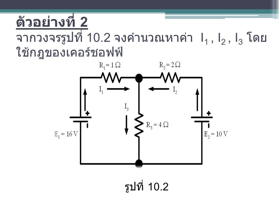ตัวอย่างที่ 2 จากวงจรรูปที่ 10.2 จงคำนวณหาค่า I 1, I 2, I 3 โดย ใช้กฎของเคอร์ชอฟฟ์ รูปที่ 10.2