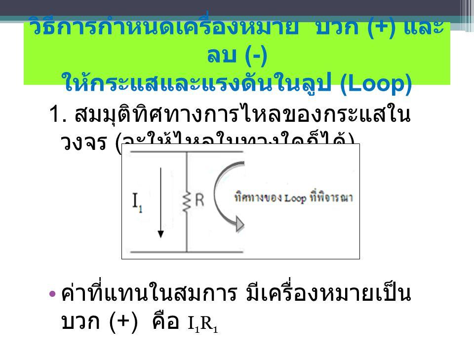 วิธีการกําหนดเครื่องหมาย บวก (+) และ ลบ (-) ให้กระแสและแรงดันในลูป (Loop) 1.