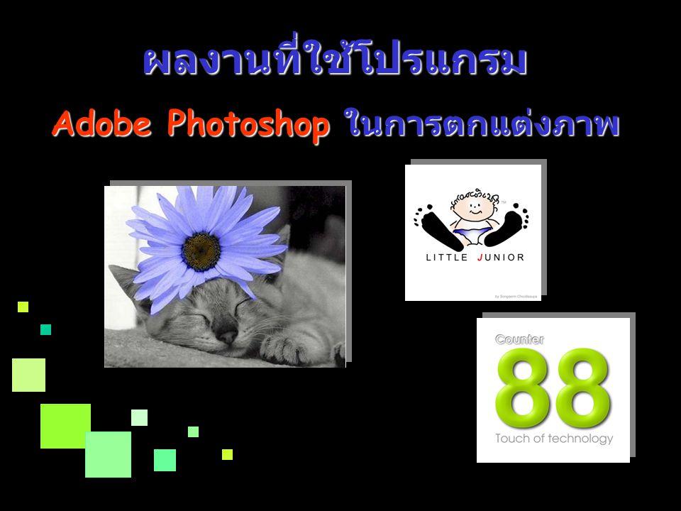 Link ข้อมูลเพิ่มเติมเกี่ยวกับโปรแกรม Adobe Photoshop Link ข้อมูลเพิ่มเติมเกี่ยวกับโปรแกรม Adobe Photoshop http://www.adobe.comhttp://www.adobe.com http://www.thaiware.com/main/info.ph p id=2448 http://elearning2.dpu.ac.th/info/index.