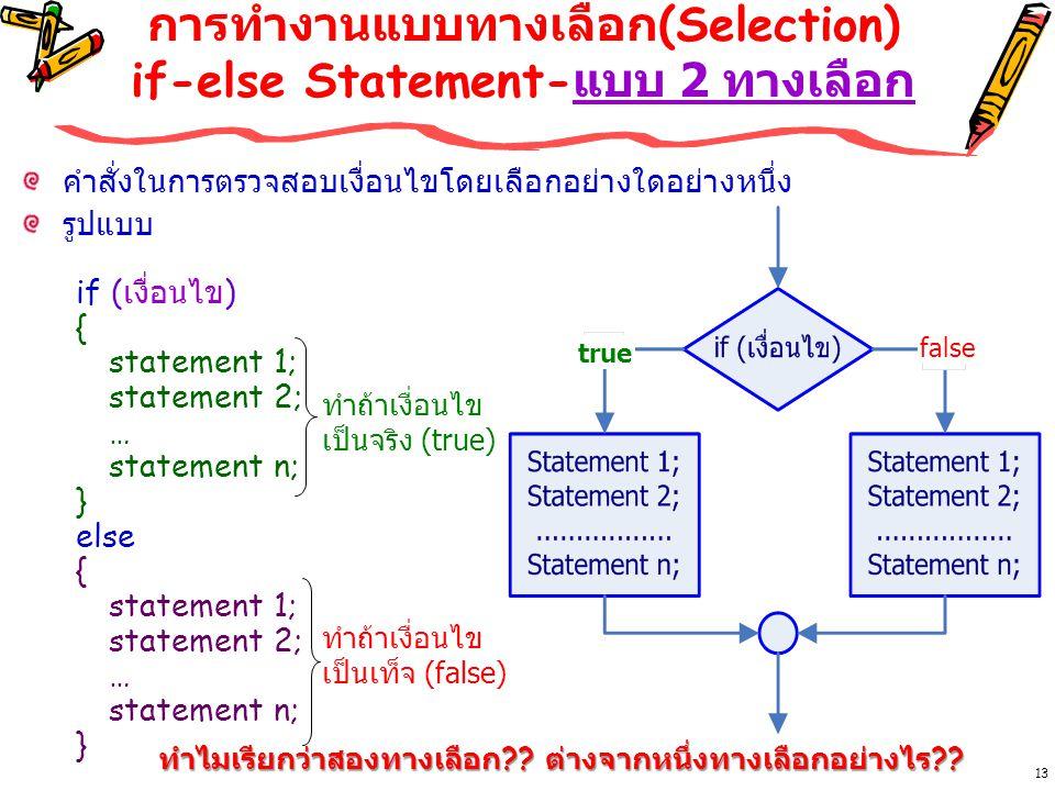 13 การทำงานแบบทางเลือก (Selection) if-else Statement- แบบ 2 ทางเลือก คำสั่งในการตรวจสอบเงื่อนไขโดยเลือกอย่างใดอย่างหนึ่ง รูปแบบ if ( เงื่อนไข ) { statement 1; statement 2; … statement n; } else { statement 1; statement 2; … statement n; } ทำถ้าเงื่อนไข เป็นจริง (true) ทำถ้าเงื่อนไข เป็นเท็จ (false) true false ทำไมเรียกว่าสองทางเลือก ?.