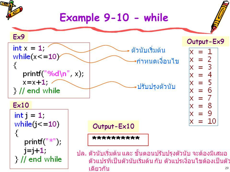 29 Example 9-10 - while ตัวนับเริ่มต้น กำหนดเงื่อนไข ปรับปรุงตัวนับ Output-Ex9 ********** Output-Ex10 Ex10 Ex9 ปล.