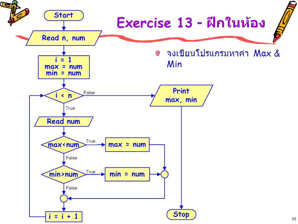 33 Exercise 13 - ฝึกในห้อง จงเขียนโปรแกรมหาค่า Max & Min
