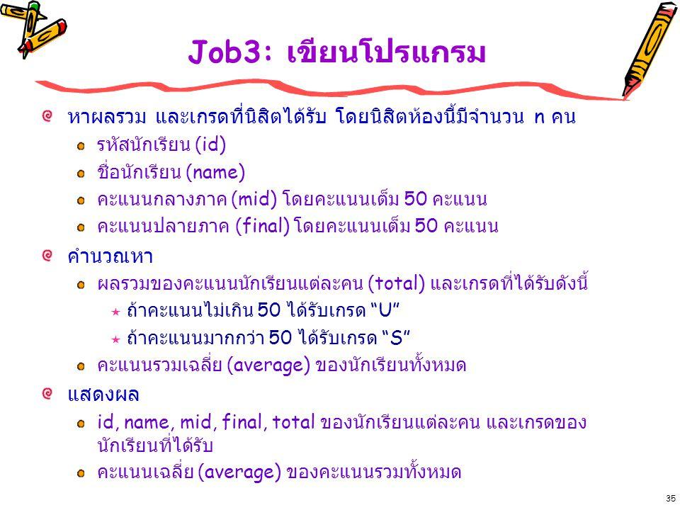 35 Job3: เขียนโปรแกรม หาผลรวม และเกรดที่นิสิตได้รับ โดยนิสิตห้องนี้มีจำนวน n คน รหัสนักเรียน (id) ชื่อนักเรียน (name) คะแนนกลางภาค (mid) โดยคะแนนเต็ม 50 คะแนน คะแนนปลายภาค (final) โดยคะแนนเต็ม 50 คะแนน คำนวณหา ผลรวมของคะแนนนักเรียนแต่ละคน (total) และเกรดที่ได้รับดังนี้  ถ้าคะแนนไม่เกิน 50 ได้รับเกรด U  ถ้าคะแนนมากกว่า 50 ได้รับเกรด S คะแนนรวมเฉลี่ย (average) ของนักเรียนทั้งหมด แสดงผล id, name, mid, final, total ของนักเรียนแต่ละคน และเกรดของ นักเรียนที่ได้รับ คะแนนเฉลี่ย (average) ของคะแนนรวมทั้งหมด