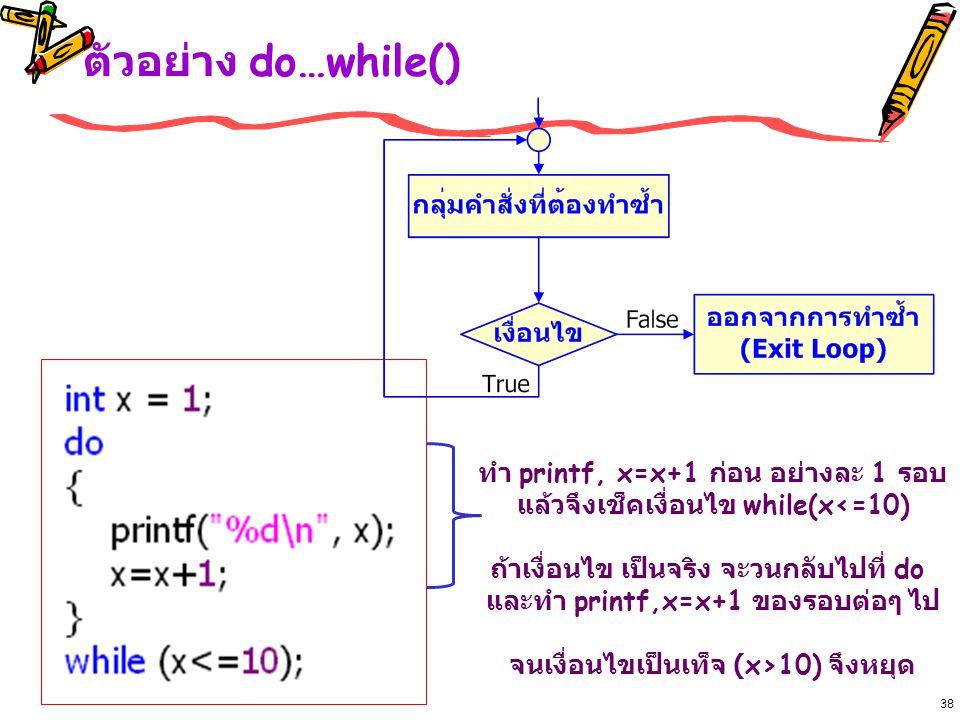 ตัวอย่าง do…while() 38 ทำ printf, x=x+1 ก่อน อย่างละ 1 รอบ แล้วจึงเช็คเงื่อนไข while(x<=10) ถ้าเงื่อนไข เป็นจริง จะวนกลับไปที่ do และทำ printf,x=x+1 ของรอบต่อๆ ไป จนเงื่อนไขเป็นเท็จ (x>10) จึงหยุด