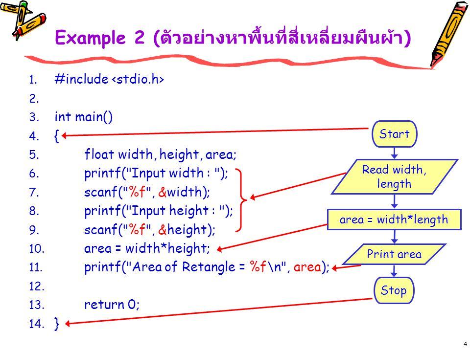 15 Example :: if 2 ทางเลือก if if-else คล้ายกับ Simple if เพียงแต่มี else เพิ่มเข้ามา เพื่อ ทำงานถ้าเงื่อนไขเป็นเท็จ (false) if-else จะเลือกทำอย่างใดอย่าง หนึ่งเท่านั้น นั่นคือ ถ้าไม่ทำงาน ใน if ก็ต้องทำงาน else int num, frac; printf( Read Number : ); scanf( %d , &num); frac = num % 2; if (frac==0) // ถ้าเงื่อนไขเป็นจริง { printf( %d is Even\n , num); } Else // แต่ถ้าเงื่อนไขไม่เป็นจริง { printf( %d is Odd\n , num); } ปล.