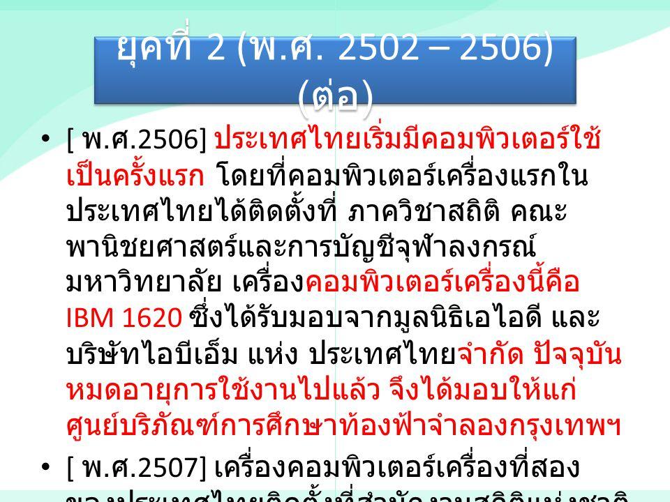 [ พ. ศ.2506] ประเทศไทยเริ่มมีคอมพิวเตอร์ใช้ เป็นครั้งแรก โดยที่คอมพิวเตอร์เครื่องแรกใน ประเทศไทยได้ติดตั้งที่ ภาควิชาสถิติ คณะ พานิชยศาสตร์และการบัญชี