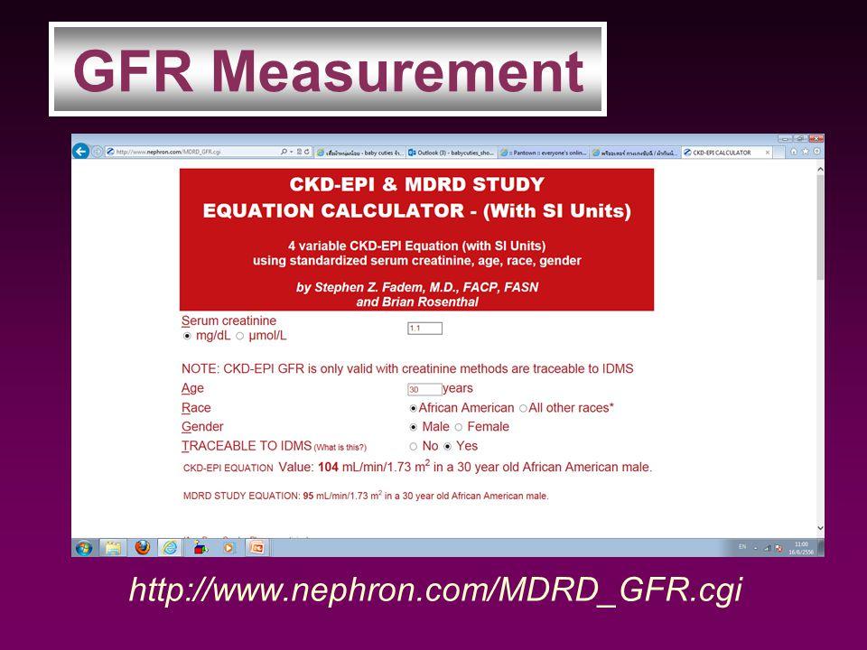 http://www.nephron.com/MDRD_GFR.cgi GFR Measurement