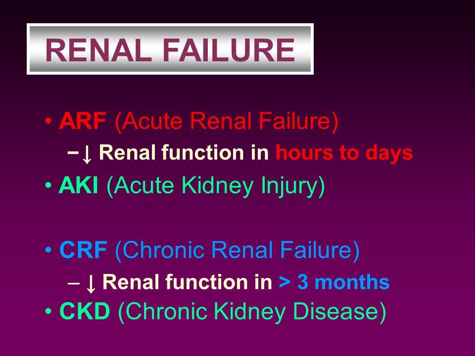 ARF (Acute Renal Failure) – ↓ Renal function in hours to days CRF (Chronic Renal Failure) – ↓ Renal function in > 3 months RENAL FAILURE CKD (Chronic