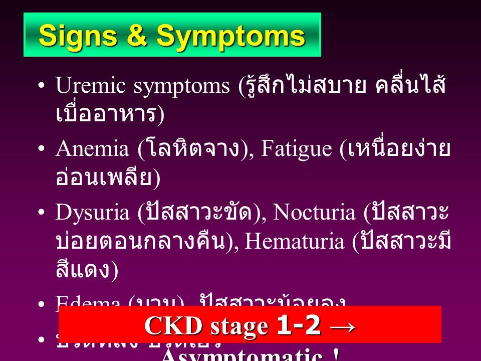 Uremic symptoms ( รู้สึกไม่สบาย คลื่นไส้ เบื่ออาหาร ) Anemia ( โลหิตจาง ), Fatigue ( เหนื่อยง่าย อ่อนเพลีย ) Dysuria ( ปัสสาวะขัด ), Nocturia ( ปัสสาว