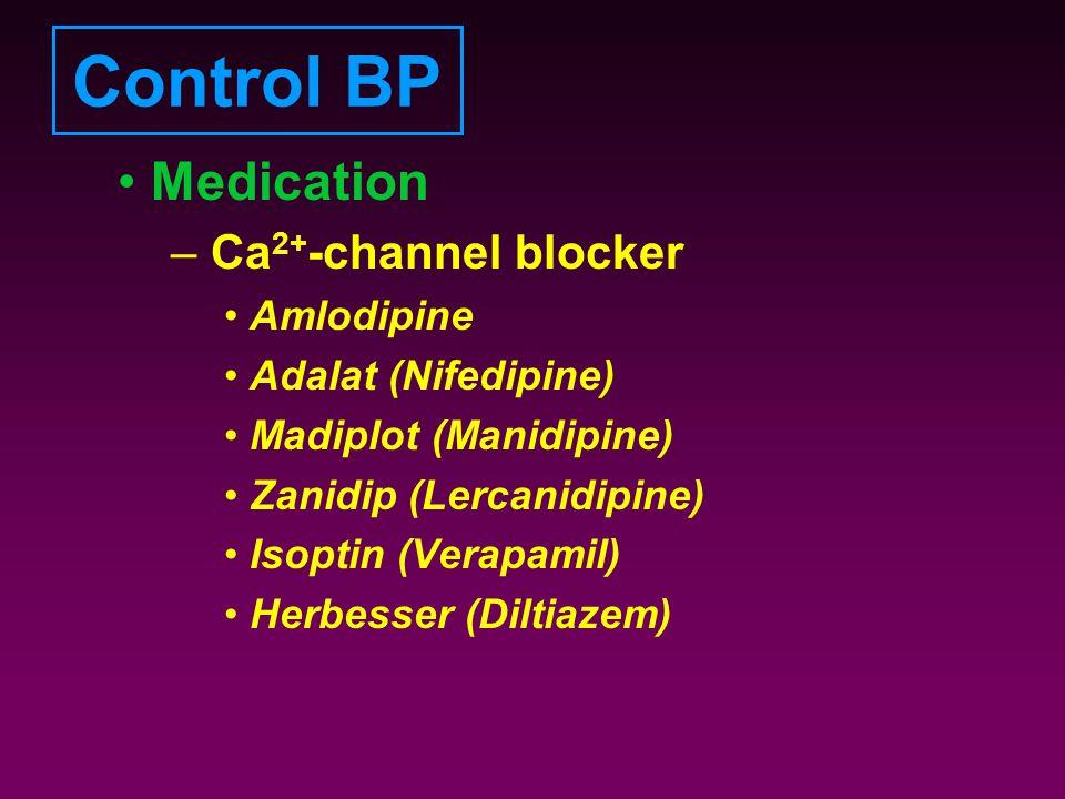 Control BP Medication – Ca 2+ -channel blocker Amlodipine Adalat (Nifedipine) Madiplot (Manidipine) Zanidip (Lercanidipine) Isoptin (Verapamil) Herbes