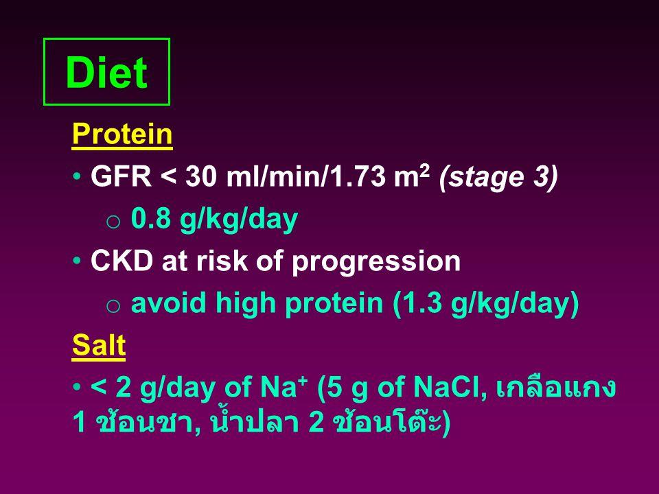 Diet Protein GFR < 30 ml/min/1.73 m 2 (stage 3) o 0.8 g/kg/day CKD at risk of progression o avoid high protein (1.3 g/kg/day) Salt < 2 g/day of Na + (