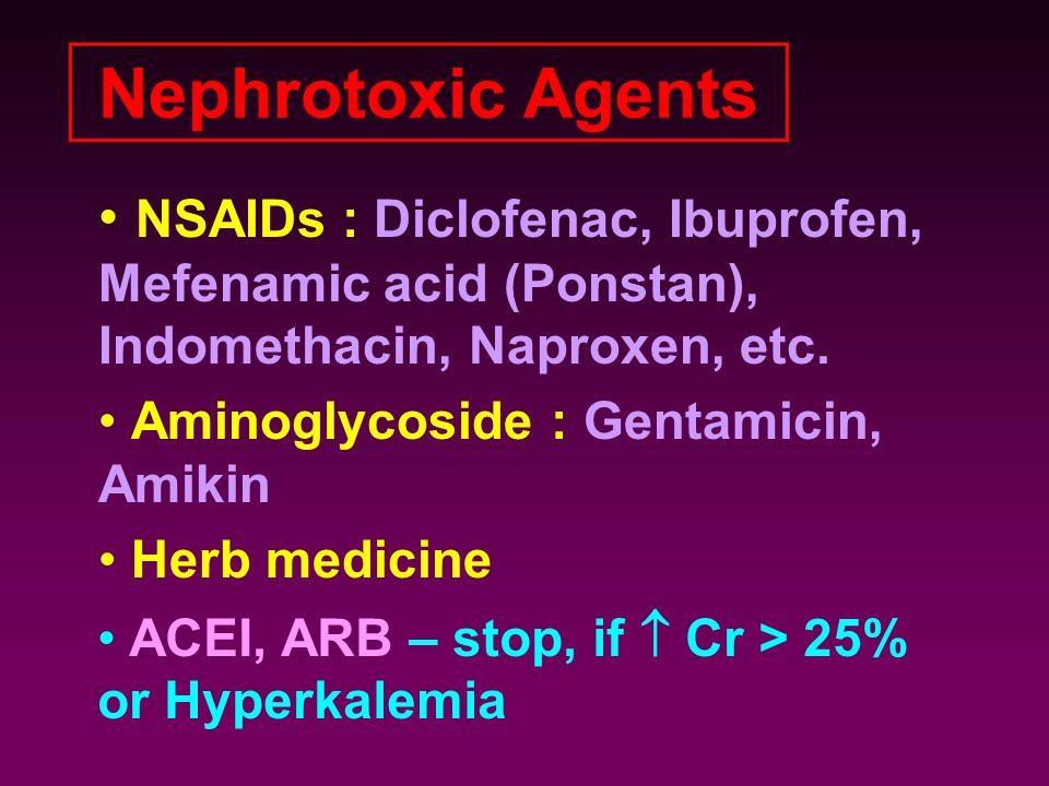 NSAIDs : Diclofenac, Ibuprofen, Mefenamic acid (Ponstan), Indomethacin, Naproxen, etc. Aminoglycoside : Gentamicin, Amikin Herb medicine Nephrotoxic A