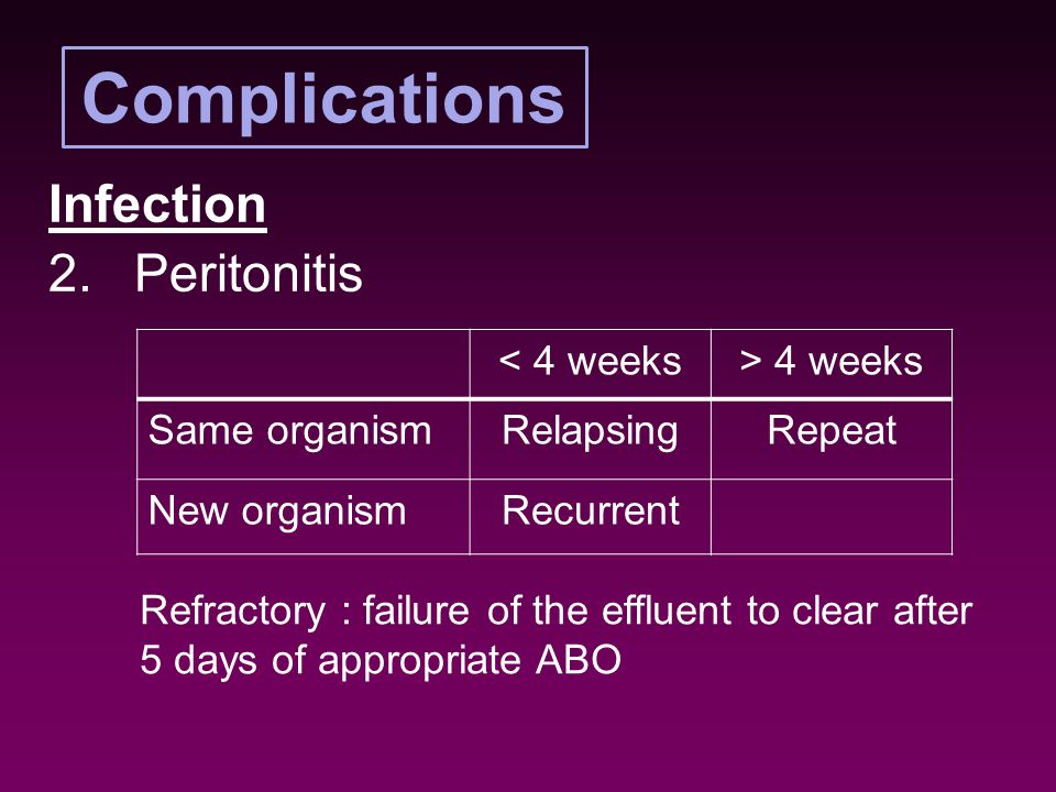 Complications Infection 2.Peritonitis < 4 weeks> 4 weeks Same organismRelapsingRepeat New organismRecurrent Refractory : failure of the effluent to clear after 5 days of appropriate ABO
