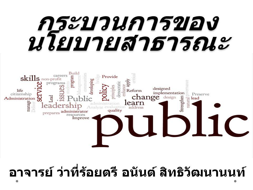 1.กระบวนการของนโยบายสาธารณะใน รูปแบบต่างๆ 2. กระบวนการนโยบายสาธารณะในอุดม คติ 3.