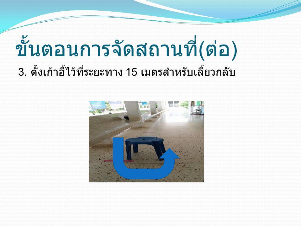 ขั้นตอนการจัดสถานที่ ( ต่อ ) 3. ตั้งเก้าอี้ไว้ที่ระยะทาง 15 เมตรสำหรับเลี้ยวกลับ