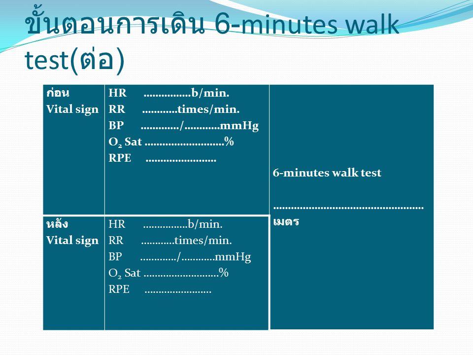 ขั้นตอนการเดิน 6-minutes walk test( ต่อ ) ก่อน Vital sign HR …………….b/min. RR …………times/min. BP …………./…………mmHg O 2 Sat ………………………% RPE …………………… 6-minute