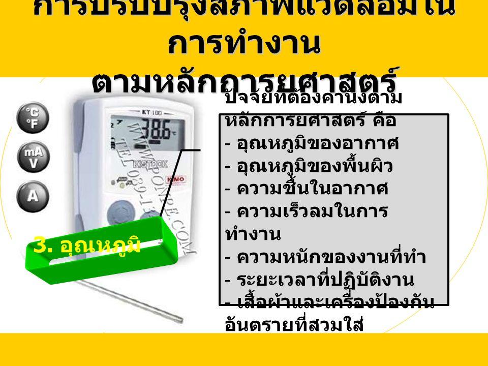 3. อุณหภูมิ การปรับปรุงสภาพแวดล้อมใน การทำงาน ตามหลักการยศาสตร์ ปัจจัยที่ต้องคำนึงตาม หลักการยศาสตร์ คือ - อุณหภูมิของอากาศ - อุณหภูมิของพื้นผิว - ควา