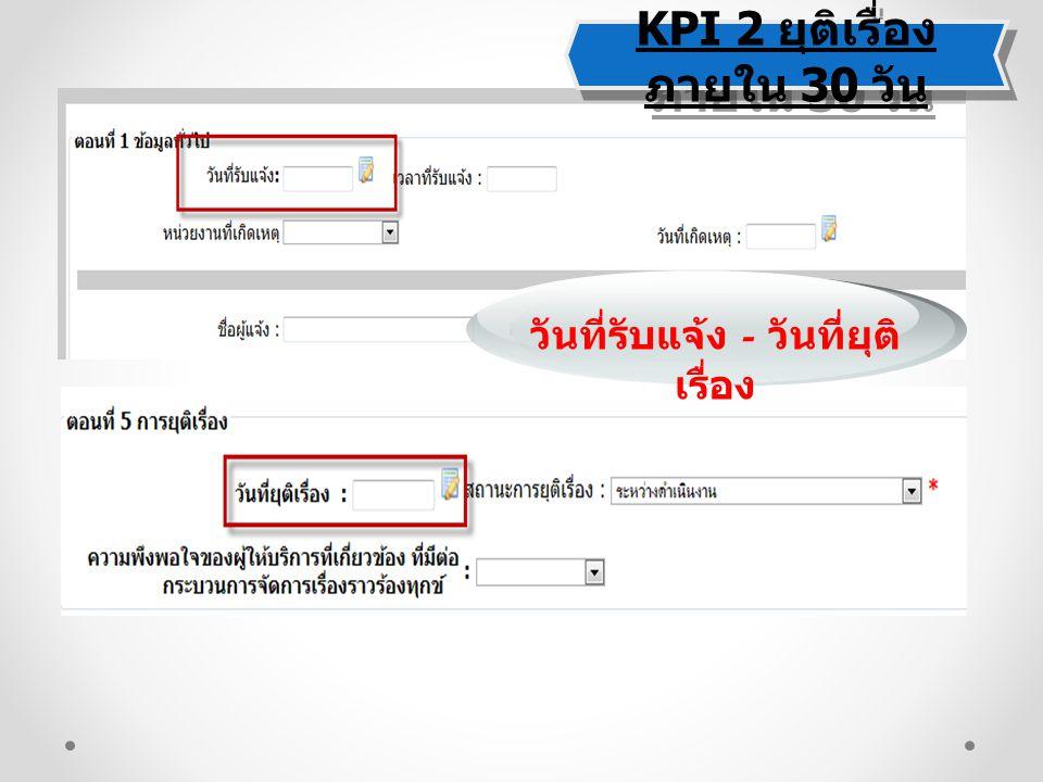 KPI 2 ยุติเรื่อง ภายใน 30 วัน KPI 2 ยุติเรื่อง ภายใน 30 วัน วันที่รับแจ้ง - วันที่ยุติ เรื่อง